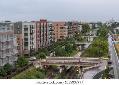 A High Angle Cityscape Shot of Apartments over the Greenway Bike Path in the Uptown Neighborhood of South Minneapolis