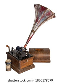 High angle cut out of 19th century American old phonograph with one cylinder record, including clipping path, isolated on white