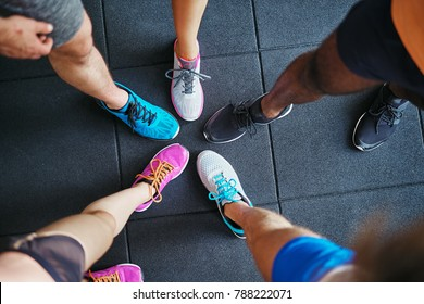 High angle of a group of sporty people's feet wearing running shoes standing together in a huddle on a gym floor