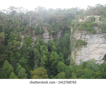 High angle for the Katoomba forest on the raining and cloudy day