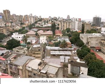High angle over the city of Maputo night