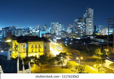 High angle over the city of Maputo at night