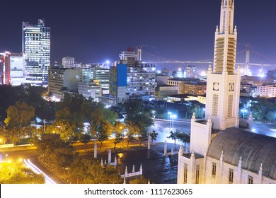 High angle over the city of Maputo at night