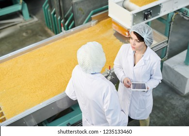 High angle portrait of factory manager doing quality control standing by machines in food production workshop, copy space