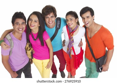High angle portrait of university students smiling together on white background
