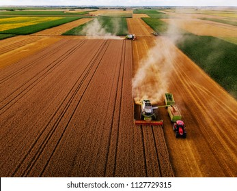 High angle shot of the harvesters working in the field