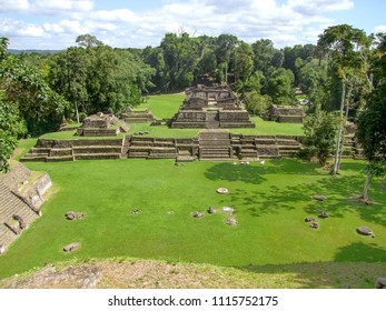 high angle shot showing the ancient Maya archaeological site named Caracol located in Belize in Central America