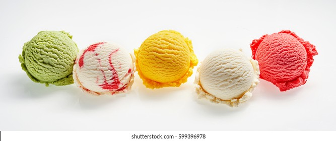High Angle Still Life View of Five Scoops of Colorful and Refreshingly Cool Ice Cream in front of White Background