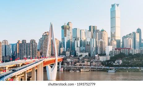 High angle sunny scenery of Jialing River and bridge in Chongqing, China