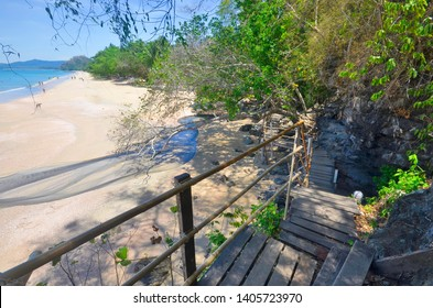 High angle view of Ao Nang Beach from the trail in the mountain, sometimes called The Monkey Trail, going to Pai Plong Beach.