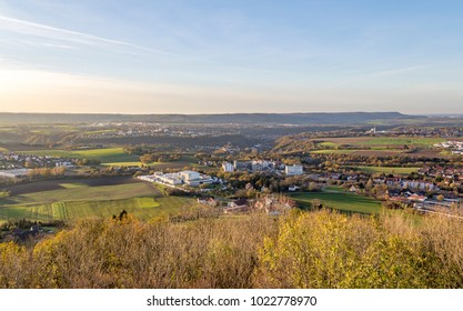 high angle view around a hill named Einkorn near Schwaebisch Hall in the evening at autumn time