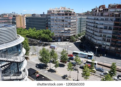 High angle view of avenue in Barcelona city