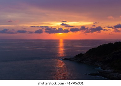 High angle view beautiful landscape of sunset over the Andaman sea