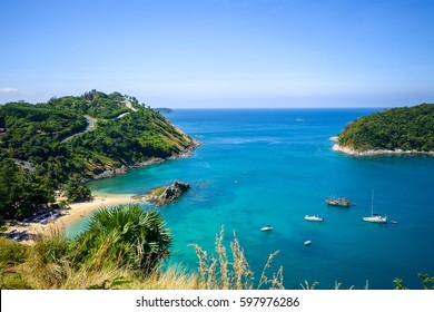 High angle view beautiful landscape of the island and Andaman sea from Windmill viewpoint is a famous attractions of Phuket Province in Thailand