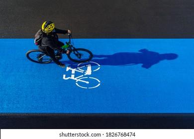 High angle view of bike path