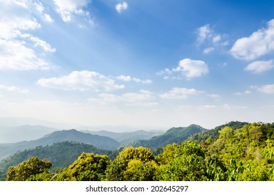 High angle view blue sky over mountain from Panoen Thung scenic point at Kaeng Krachan National Park Phetchaburi province in Thailand