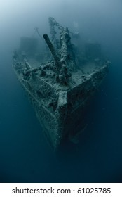 High angle view of the bow of the Rosalie Moller, World war 2 shipwreck. Red Sea, Egypt.