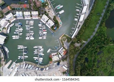 High angle view by drone of the Yacht,motorboat and sailboat in marina.