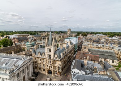 High angle view of the city of Cambridge, UK