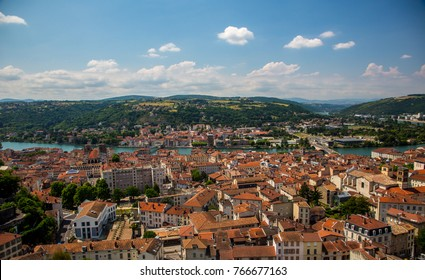 High angle view of city of Vienne and the Rhone River, France.