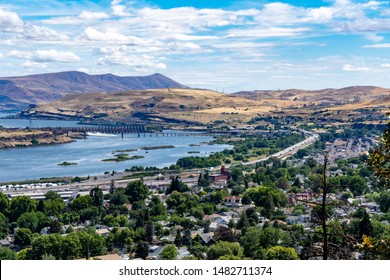 A high angle view of the the Dalles dam, the columbia River and the city of The Dalles, Oregon