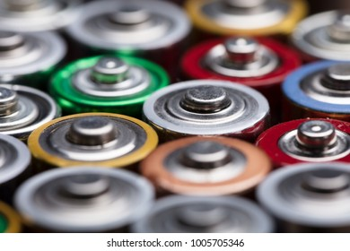 High Angle View Of Different Type Of Used Batteries
