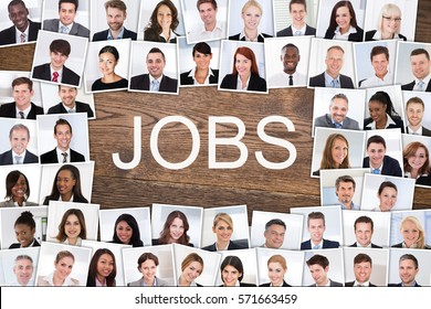 High Angle View Of Diverse Multiethnic Business People Portrait Photos Collage Hired For Job