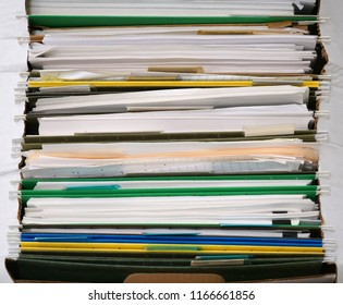 high angle view of documents and folders archive