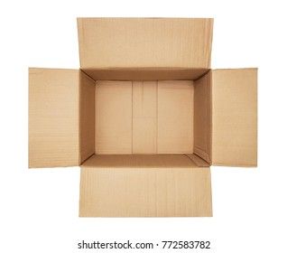 High angle view of an empty cardboard box isolated on white background with copy space