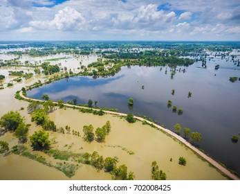 High Angle View flood, flood