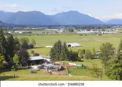 A high angle view of the Fraser Valley near Abbotsford, BC/Summer in the Fraser Valley/Summer has arrived in British Columbia's Fraser Valley