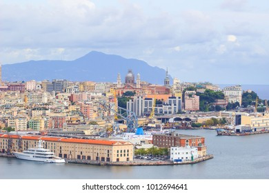 High angle view of Genoa (Genova) city with sea view and yachts in natural background.