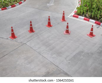 High Angle View of Group of Traffic Cones on the Street