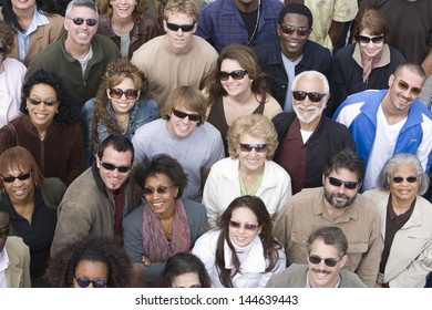 High angle view of happy multiethnic people wearing sunglasses