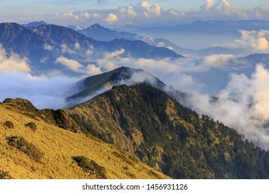 High Angle View of Hehuan Mountain, Nantou, Taiwan