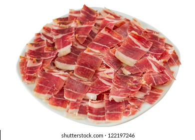 High angle view of jabugo ham white plate with slices over white background