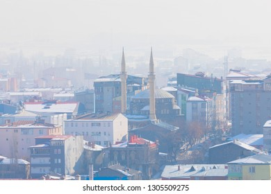 High angle view of Kars city. Kars is a city in northeast Turkey and the capital of Kars Province.