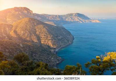 High angle view of Kos Island,Greece at sunset
