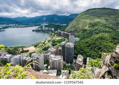 High angle view of Lagoa lake with city buildings and mountains, Rio de Janeiro, Brazil