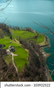 High angle view of the lake Walensee near Zurich in Switzerland