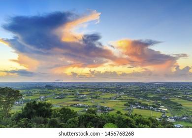 high Angle view of Lanyang Plain;Yilan;Taiwan
