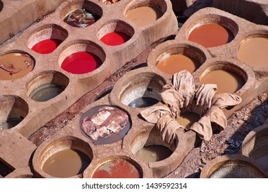 High angle view of leather and tanning quater in Fes, Morocco