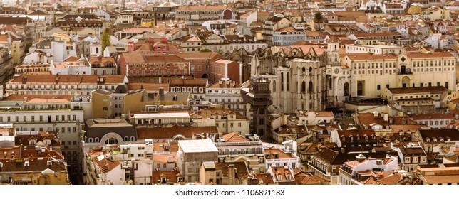 High angle view of Lisbon - Chiado neighborhood