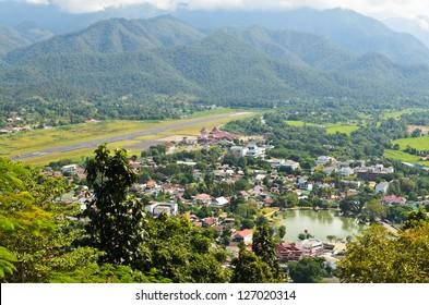 High angle view of Mae Hong Son City, northern Thailand.