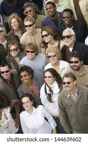 High angle view of multiethnic people wearing sunglasses