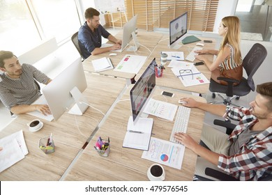 High angle view of office workers