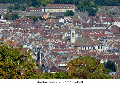 High angle view of the old historic city of Besançon, Doubs, Bourgogne Franche-Comté, France