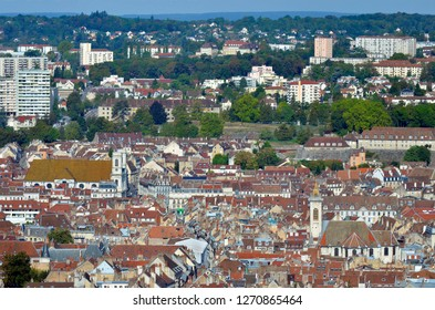 High angle view of the old historic city of Besançon and the surrounding neighborhoods, Doubs, Bourgogne Franche-Comté, France