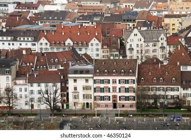 High angle view of an old world city neighborhood. Horizontal shot of Basle.