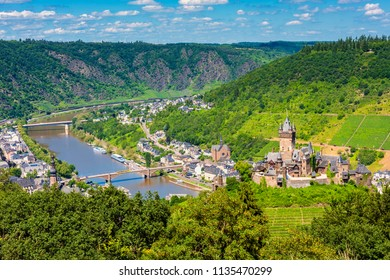 High Angle view on Cochem and Mosel River in Germany